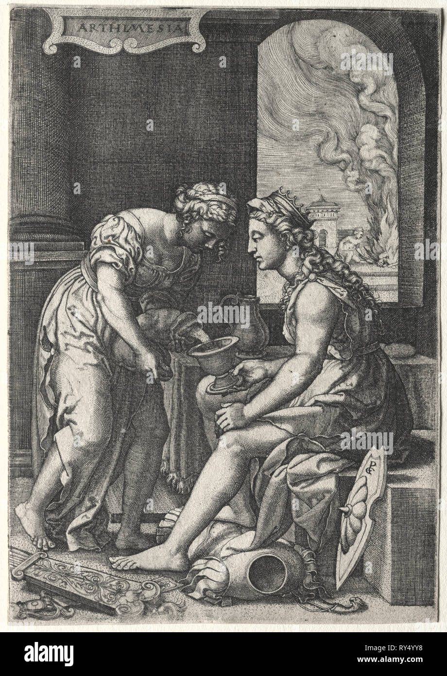 Artemisia, c. 1539. Georg Pencz (German, c. 1500-1550). Engraving - Stock Image