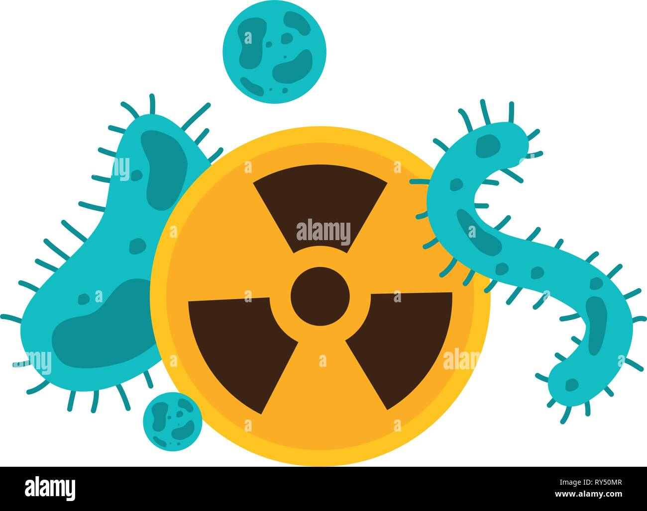 bacteria cells and radiation - Stock Vector