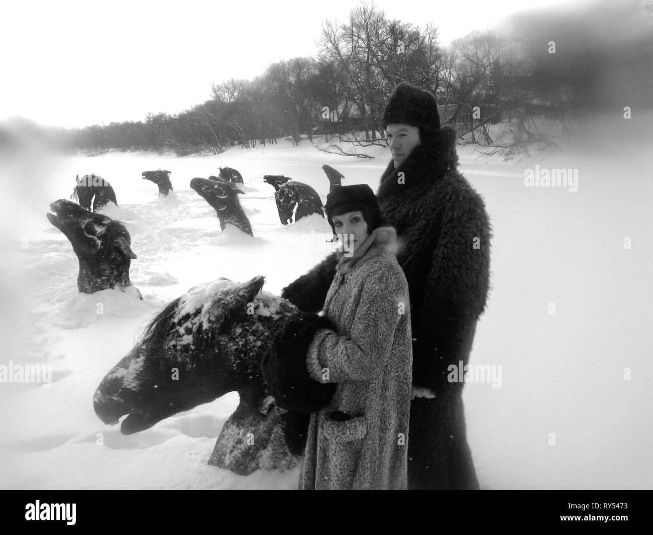 FROZEN HORSES SCENE, MY WINNIPEG, 2007 - Stock Image