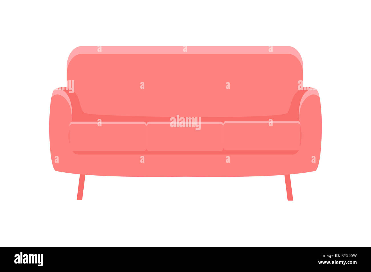 Sofa for modern living room reception or lounge. Red sofa on white ...