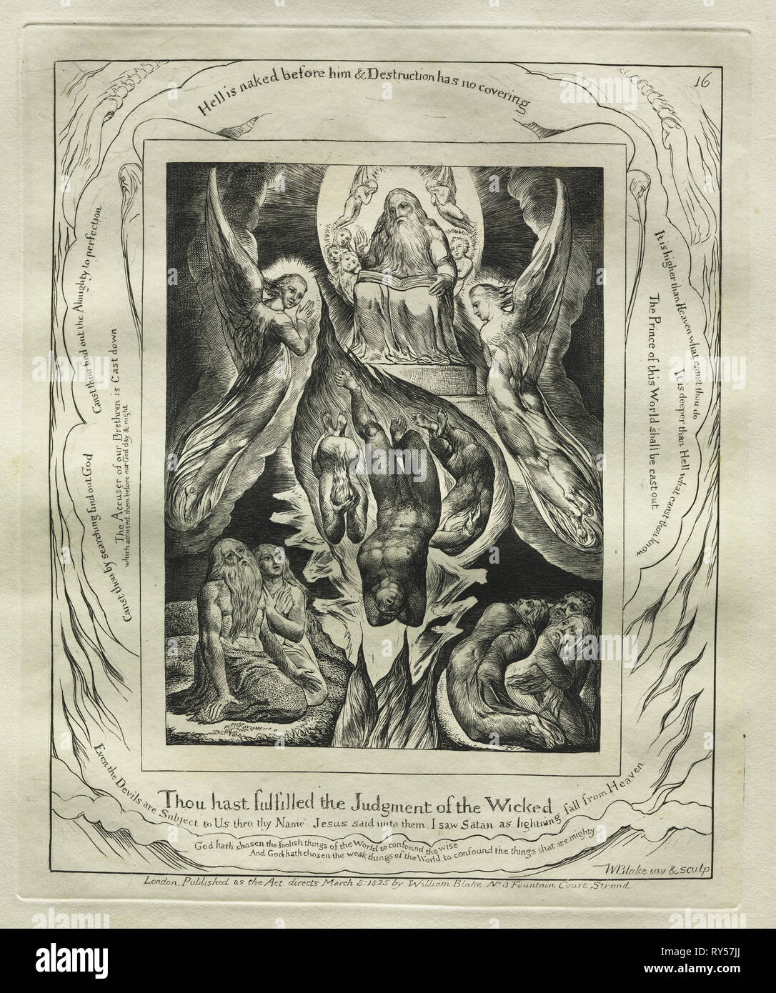 The Book of Job:  Pl. 16, Thou hast fulfilled the Judgment of the Wicked, 1825. William Blake (British, 1757-1827). Engraving - Stock Image