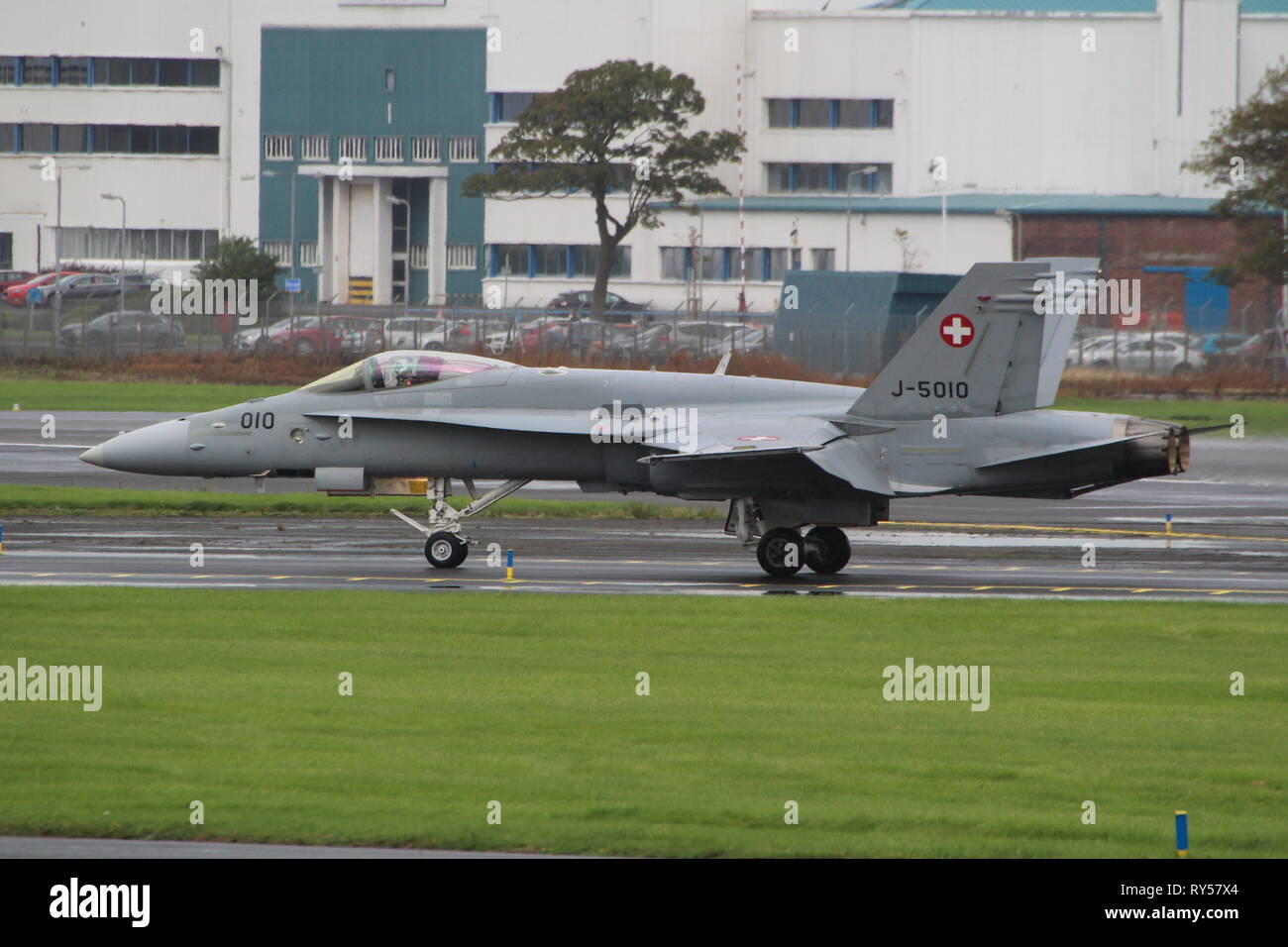 J-5010, a Boeing F/A-18C Hornet operated by the Swiss Air Force, at Prestwick International Airport in Ayrshire. - Stock Image