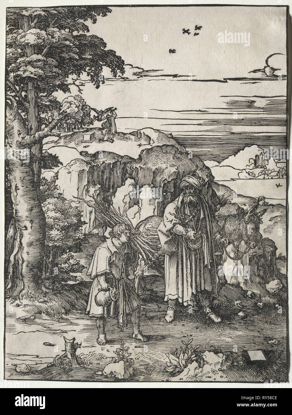 Abraham Going to Sacrifice Isaac, 1517-1519. Lucas van Leyden (Dutch, 1494-1533). Woodcut - Stock Image
