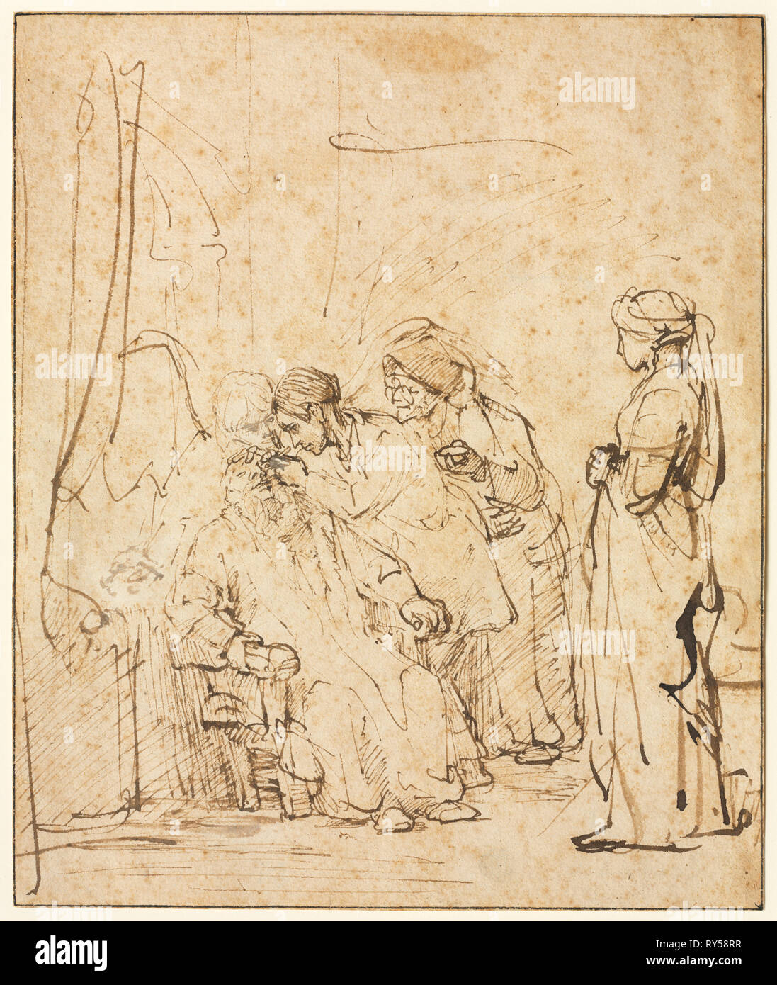Tobias Healing His Father's Blindness, c. 1640-1645. Rembrandt van Rijn (Dutch, 1606-1669). Pen and brown ink, touched with white gouache, framing lines in brown ink; sheet: 21.1 x 17.7 cm (8 5/16 x 6 15/16 in - Stock Image