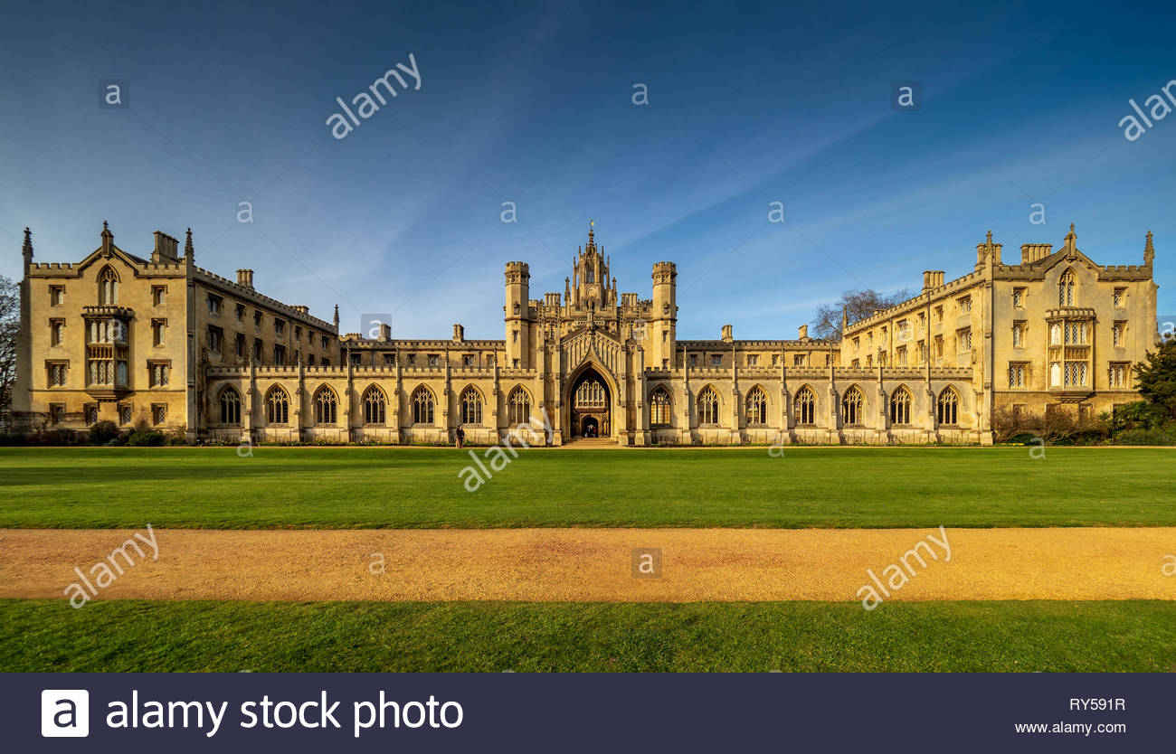 New Court St Johns College Cambridge. Founded 1511, New Court was built built between 1826 and 1831. Architects Thomas Rickman & Henry Hutchinson - Stock Image