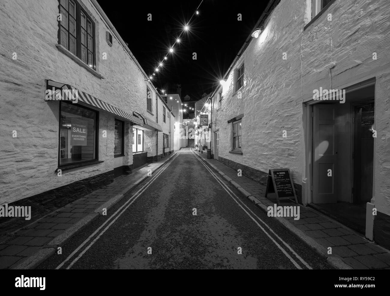 Salcombe town at Christmas. This seaside town gets all dressed up for Christmas. - Stock Image