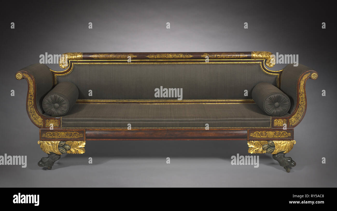 Sofa, c. 1820. America, New York, Empire style, 19th century. Wood with painted and gilded decoration; overall: 85.1 x 195.5 x 63.6 cm (33 1/2 x 76 15/16 x 25 1/16 in - Stock Image
