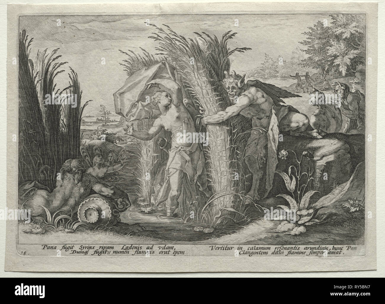 The Creations of the Four Elements (from Ovid's Metamorphoses): Pan Pursuing Syrinx, c. 1589. After Hendrick Goltzius (Dutch, 1558–1617). Engraving; sheet: 18.9 x 26.4 cm (7 7/16 x 10 3/8 in.); platemark: 17.2 x 24.9 cm (6 3/4 x 9 13/16 in - Stock Image