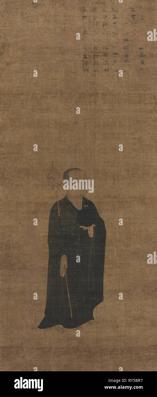Portrait of Priest Dazhi (1048-1116), the Master of Law, 1100s. China, Jin dynasty (1115-1234). Hanging scroll, ink and slight color on silk; image: 92.4 x 40.5 cm (36 3/8 x 15 15/16 in.); overall: 171.9 x 55.1 cm (67 11/16 x 21 11/16 in.); with knobs: 171.9 x 60.5 cm (67 11/16 x 23 13/16 in - Stock Image