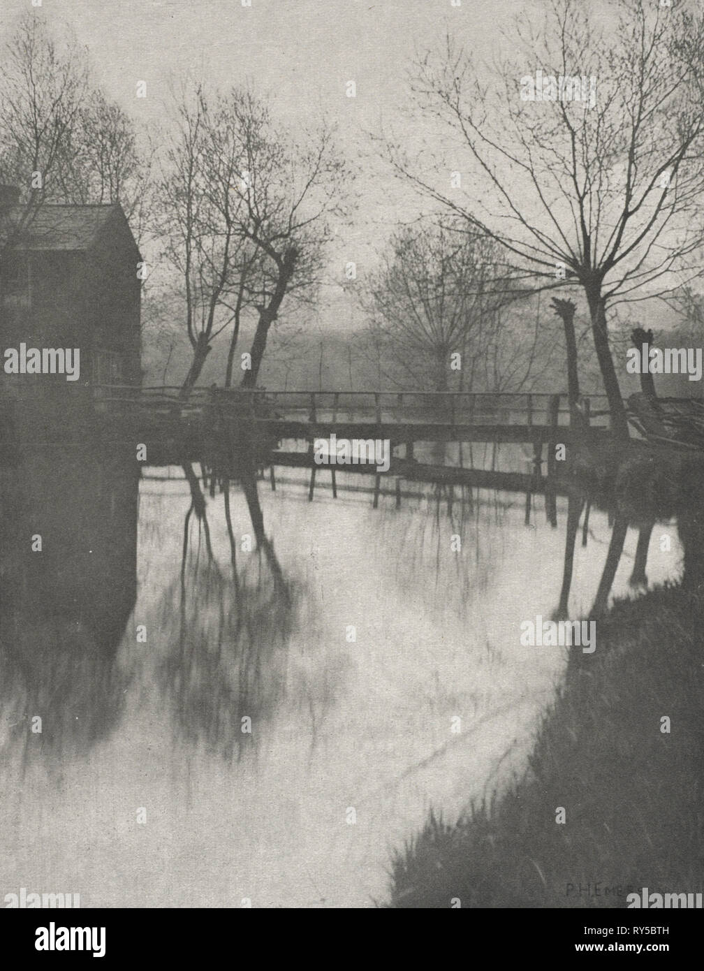 The Compleat Angler by Izaak Walton, edited by R. B. Marston, pl. XXV: Footbridge Near Chingford, from The Compleat Angler, 1888. Peter Henry Emerson (British, 1856-1936), Sampson Low, Marston, Searle and Rivington. Photogravure; image: 18.6 x 14.4 cm (7 5/16 x 5 11/16 in.); matted: 35.6 x 30.6 cm (14 x 12 1/16 in - Stock Image
