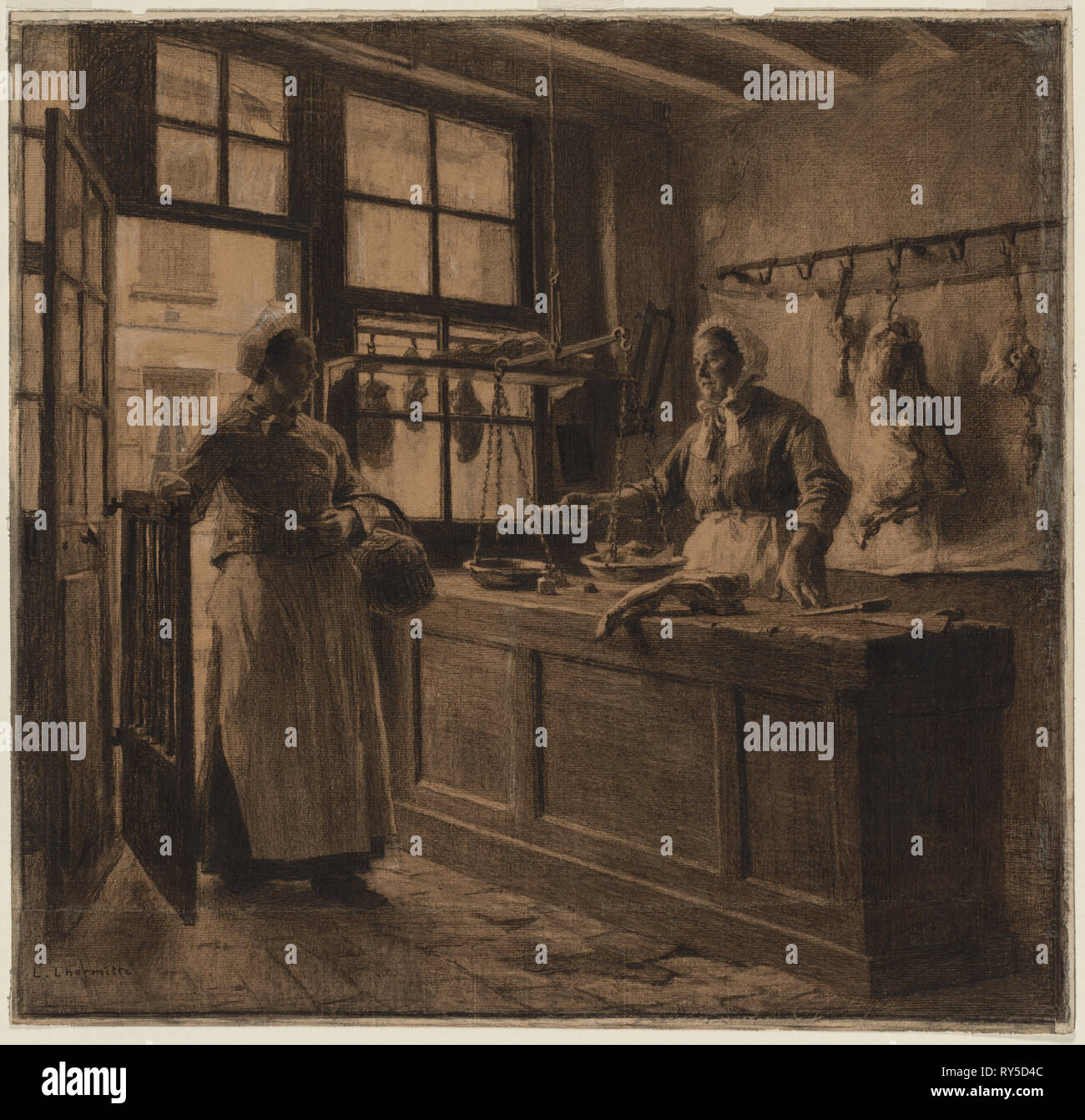 Interior of a Butcher Shop, c. 1881. Léon Augustin Lhermitte (French, 1844-1925). Charcoal and black chalk heightened with white chalk (media continue onto secondary support); sheet: 55.7 x 57.2 cm (21 15/16 x 22 1/2 in.); secondary support: 56.1 x 58.4 cm (22 1/16 x 23 in Stock Photo