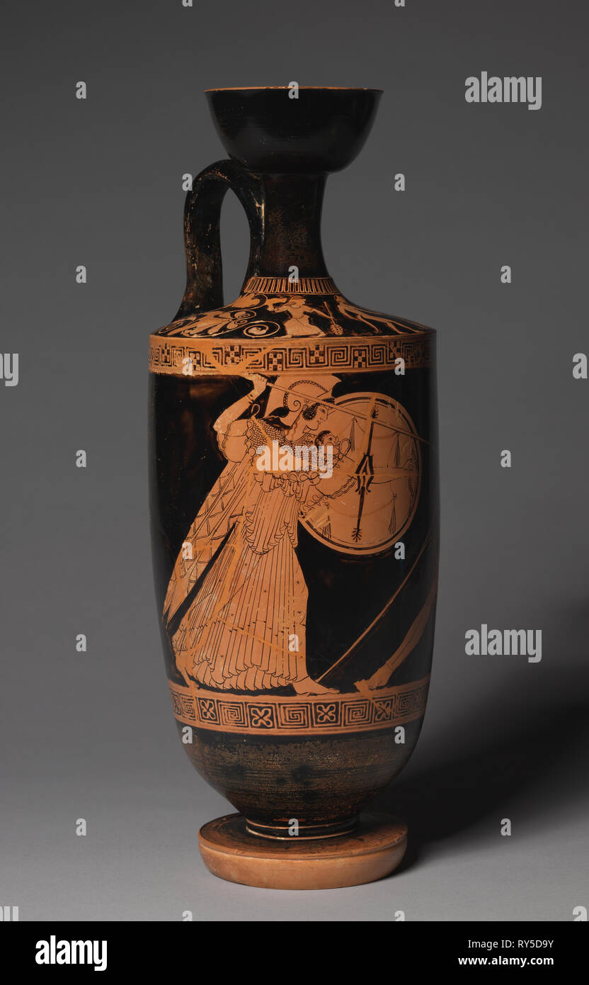 Lekythos, c. 490 BC. Attributed to Painter of Goluchow 37 (Greek, -530--450), attributed to Berlin Painter (Ancient Greek, -540--445). Earthenware with slip decoration; diameter: 14.1 cm (5 9/16 in.); diameter of mouth: 8.7 cm (3 7/16 in.); overall: 38 cm (14 15/16 in.); diameter of foot: 10 cm (3 15/16 in - Stock Image