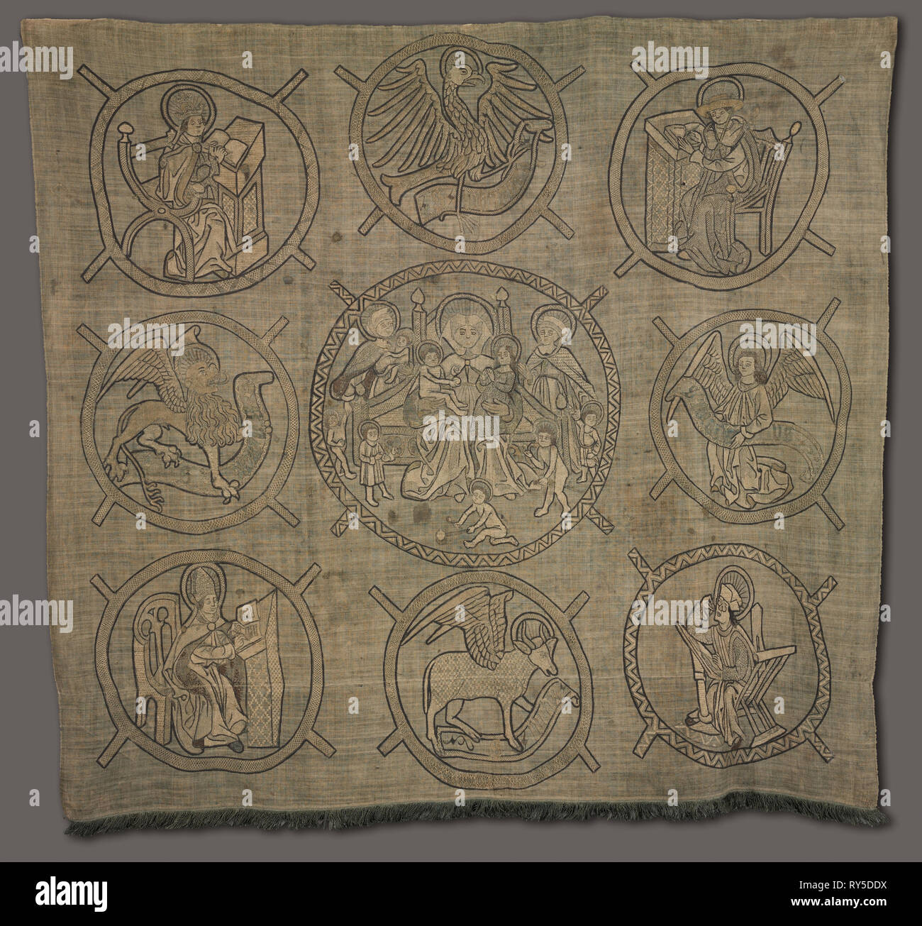 Embroidered Panel: Holy Kinship, 1500s. Germany or Switzerland, 16th century. Embroidery: silk and linen on linen ground; contours of design applied with ink; overall: 143.6 x 152.4 cm (56 9/16 x 60 in - Stock Image