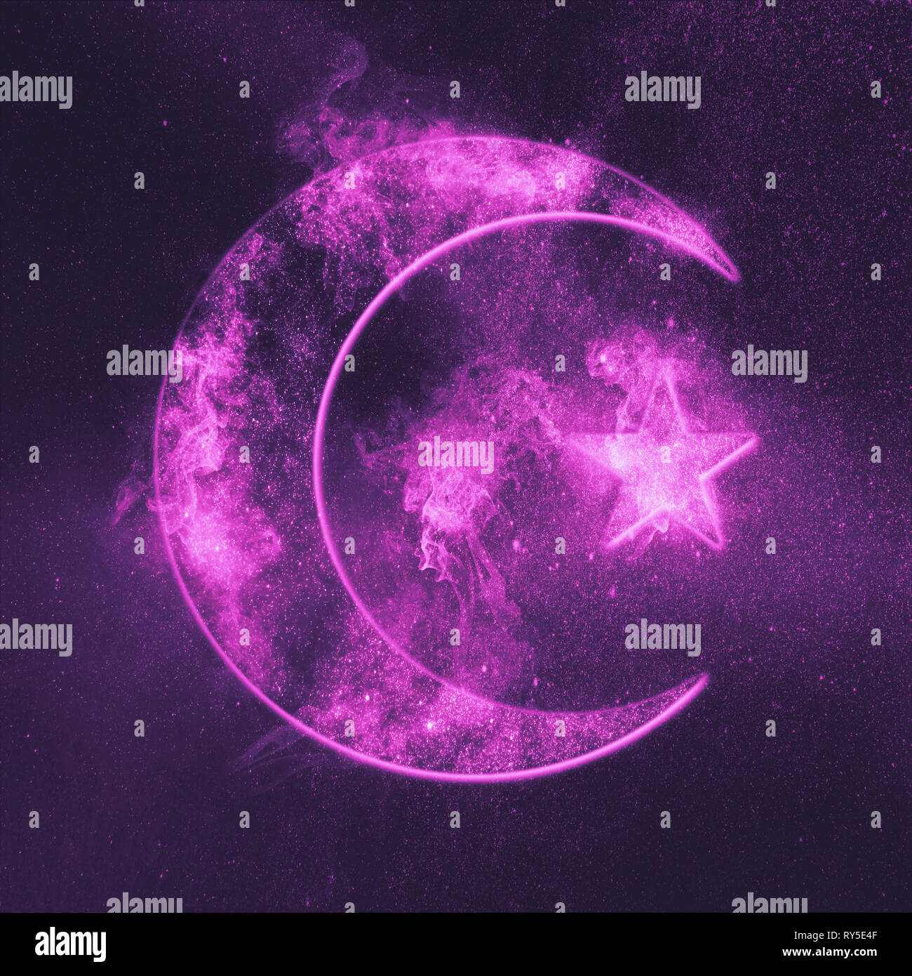 Symbol of Islam. Star and crescent moon. Abstract night sky background. - Stock Image