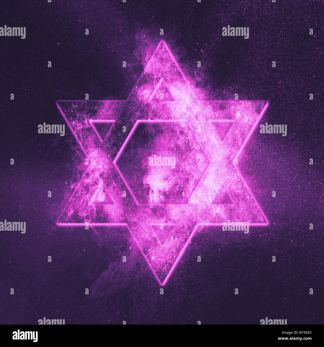 Magen David symbol, Star of David. Abstract night sky background. - Stock Image