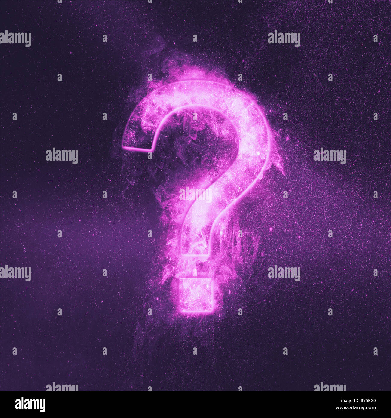 Question mark sign. Abstract night sky background. - Stock Image