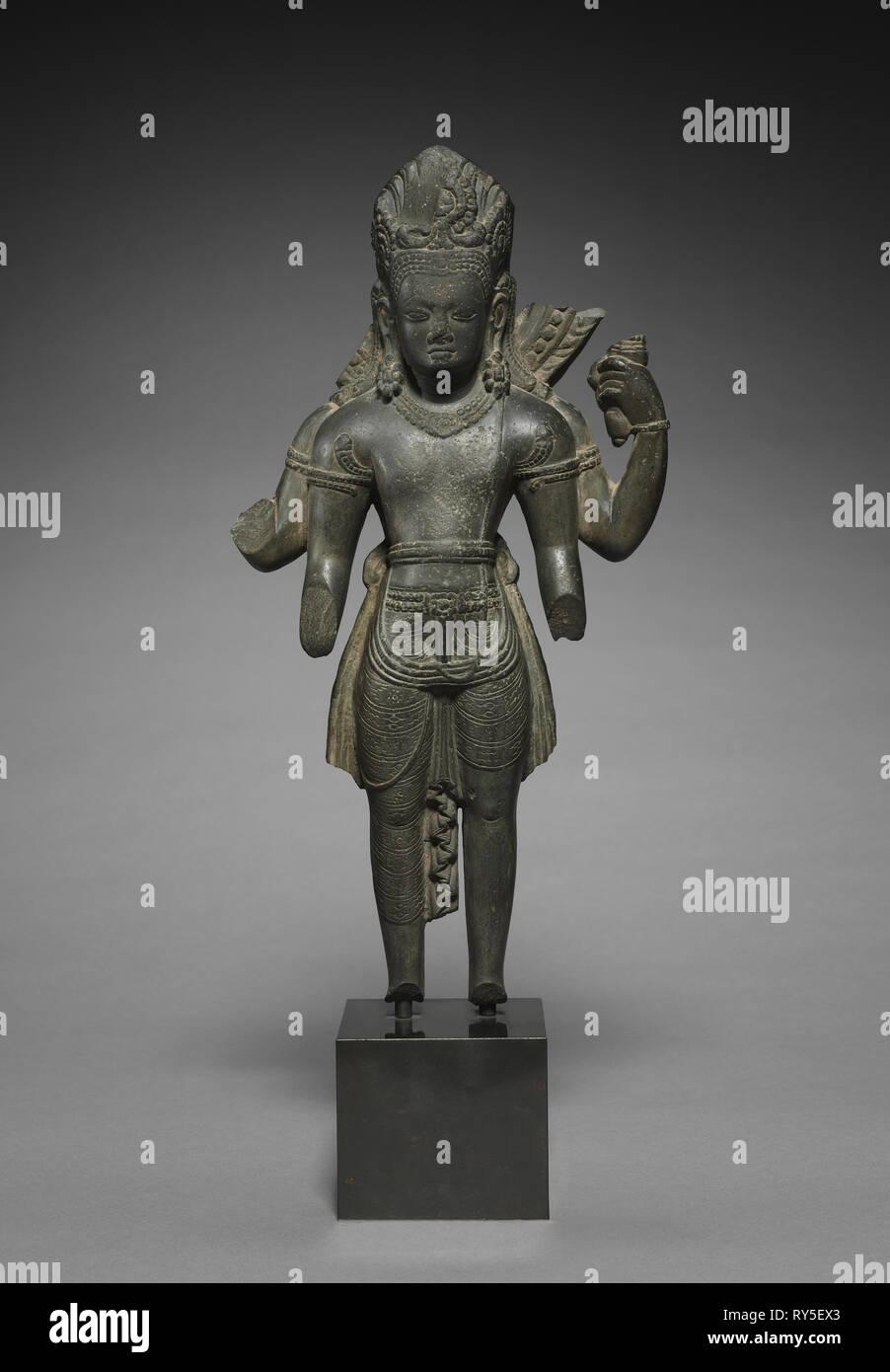 Vishnu, 800s. Nepal, style of Changu Narayan, 9th century. Schist; overall: 43.8 cm (17 1/4 in - Stock Image