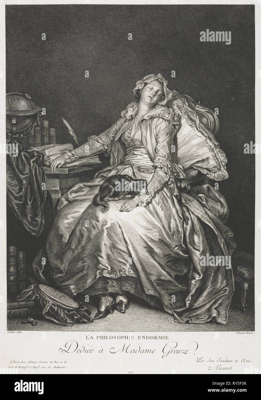 Madame Greuze Asleep, 1776. Jean-Michel the Younger Moreau (French, 1741-1814). Etching and engraving - Stock Image
