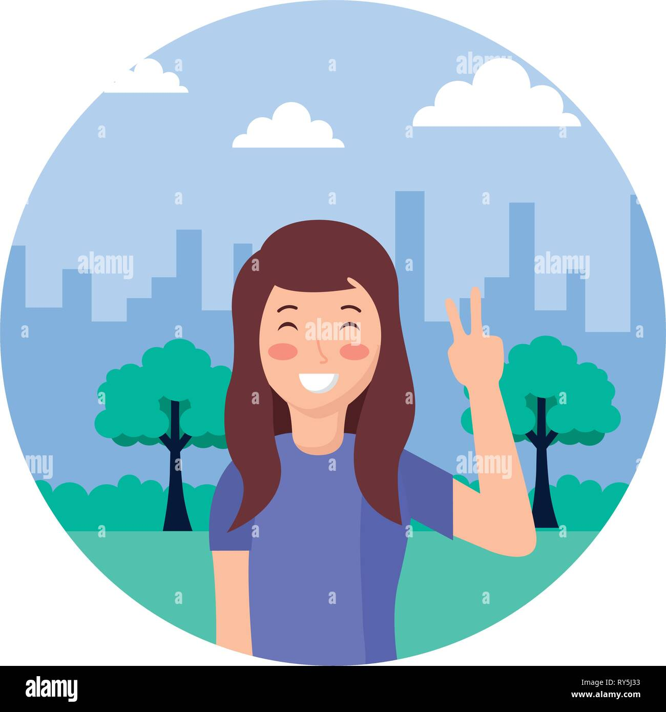 woman posing in the park - Stock Vector