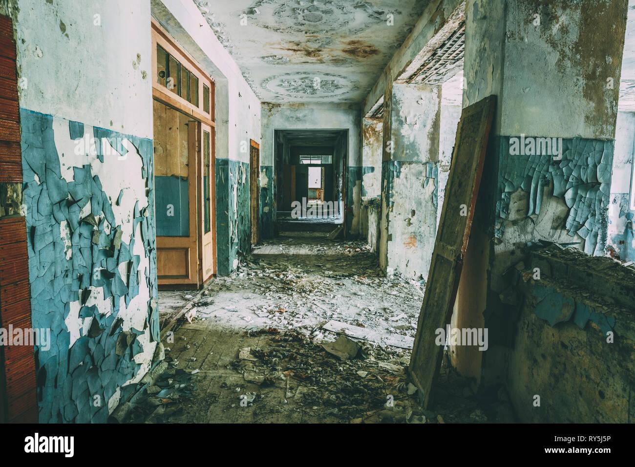 Dilapidated passage in school of Pripyat. Chernobyl Disaster - Stock Image