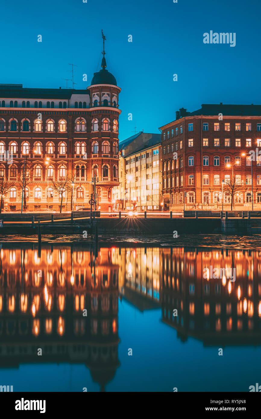 Helsinki, Finland. Crossroad Of Pohjoisranta And Kirkkokatu Street In Evening Or Night Illumination - Stock Image