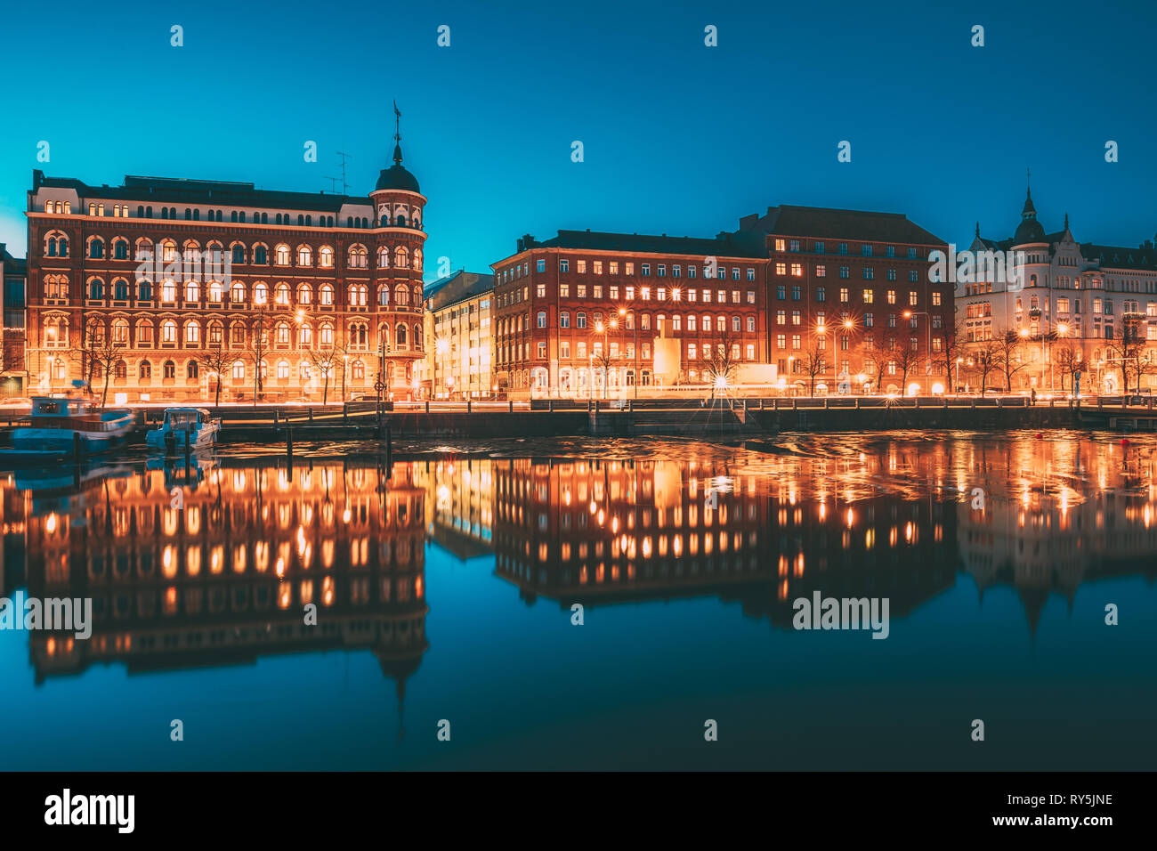 Helsinki, Finland. View Of Pohjoisranta Street In Evening Or Night Illumination - Stock Image
