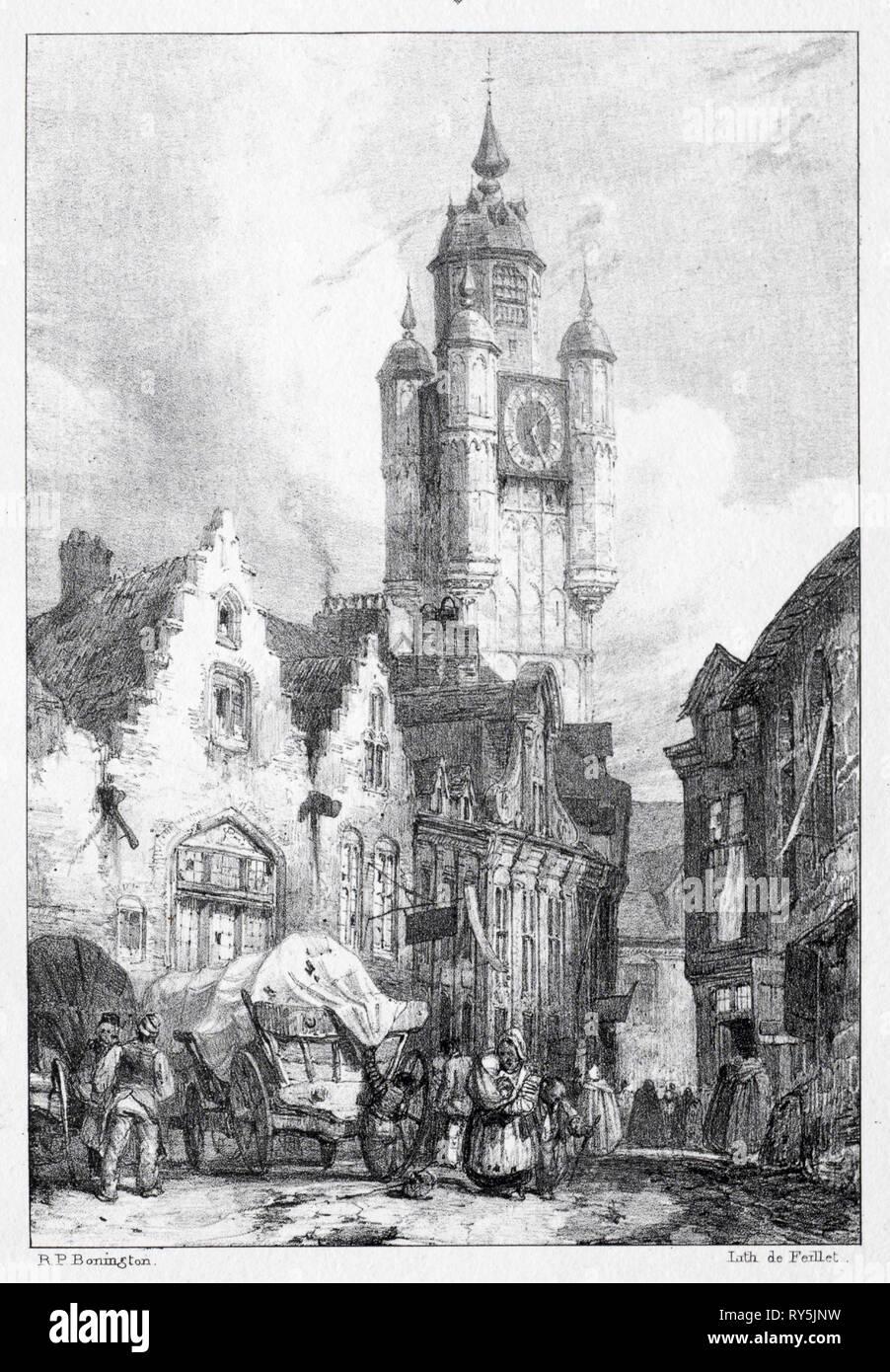 Bergues:  La Tour du marché, 1824. Richard Parkes Bonington (British, 1802-1828). Lithograph - Stock Image