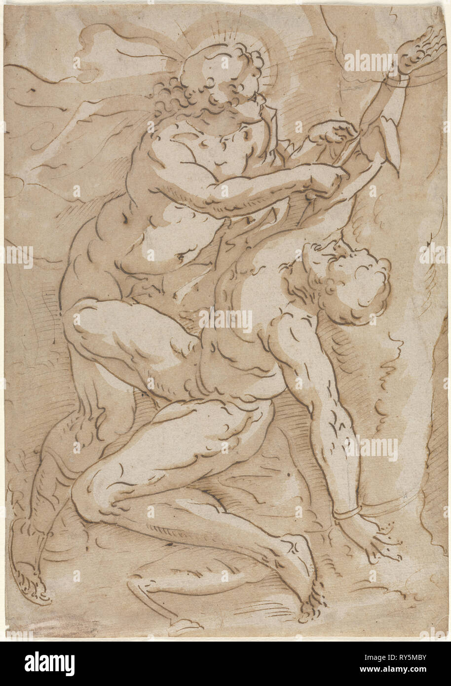 Apollo Flaying Marsyas, 16th century. Anonymous. Pen and brown ink and brown wash over black chalk; sheet: 30.7 x 21.5 cm (12 1/16 x 8 7/16 in - Stock Image