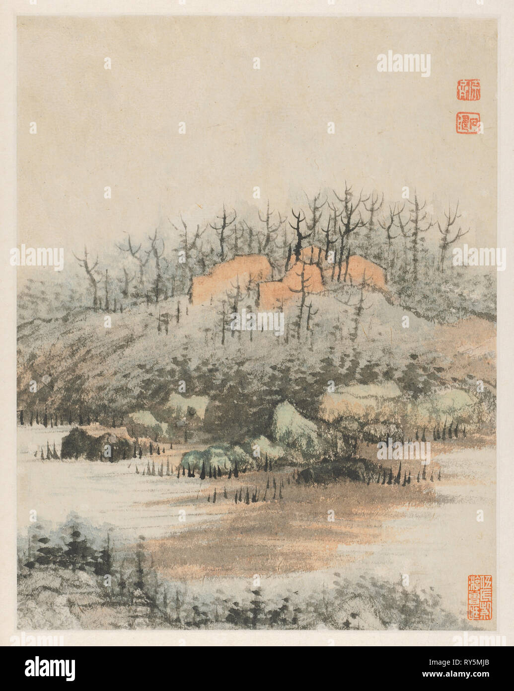 Reminiscences of Qinhuai River, 1642-1707. Shitao (Chinese, 1642-1707). Album leaf, ink and color on Song paper; image: 25.5 x 20.2 cm (10 1/16 x 7 15/16 in.); overall: 33 x 24.3 cm (13 x 9 9/16 in - Stock Image