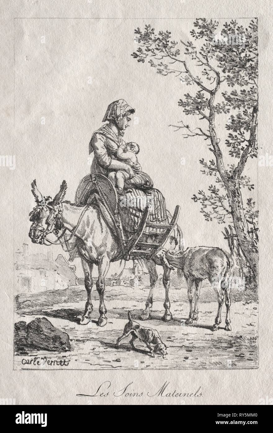 Maternal Care. Carle Vernet (French, 1758-1836). Lithograph - Stock Image