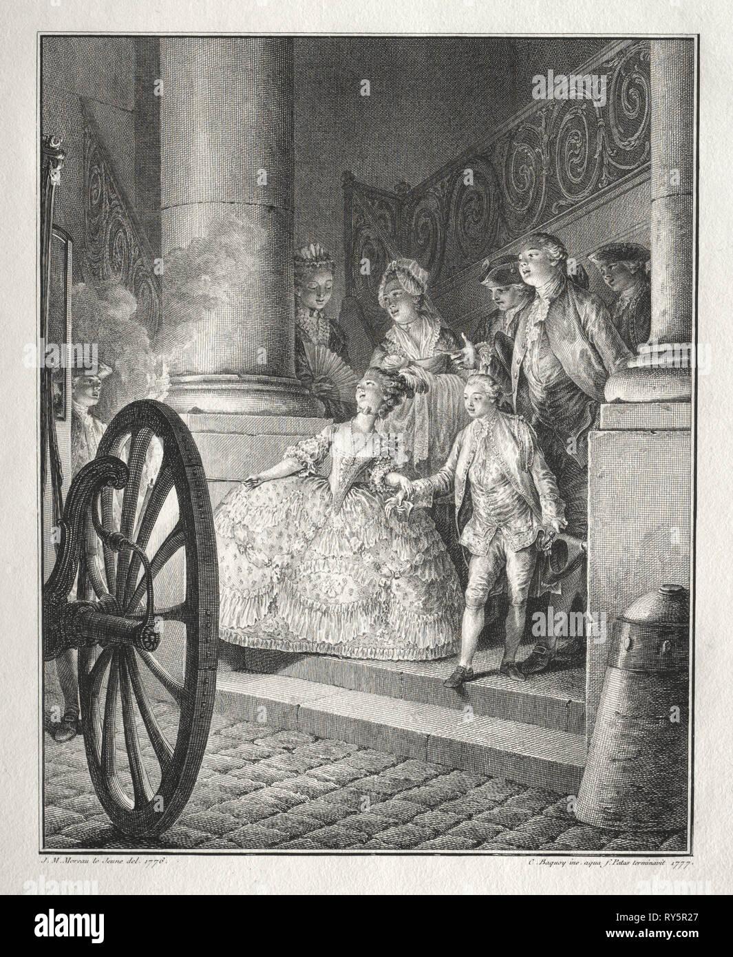 Rêtif de la Bretonne:  The Little Godparents, 1777. Jean-Michel the Younger Moreau (French, 1741-1814). Etching and engraving - Stock Image