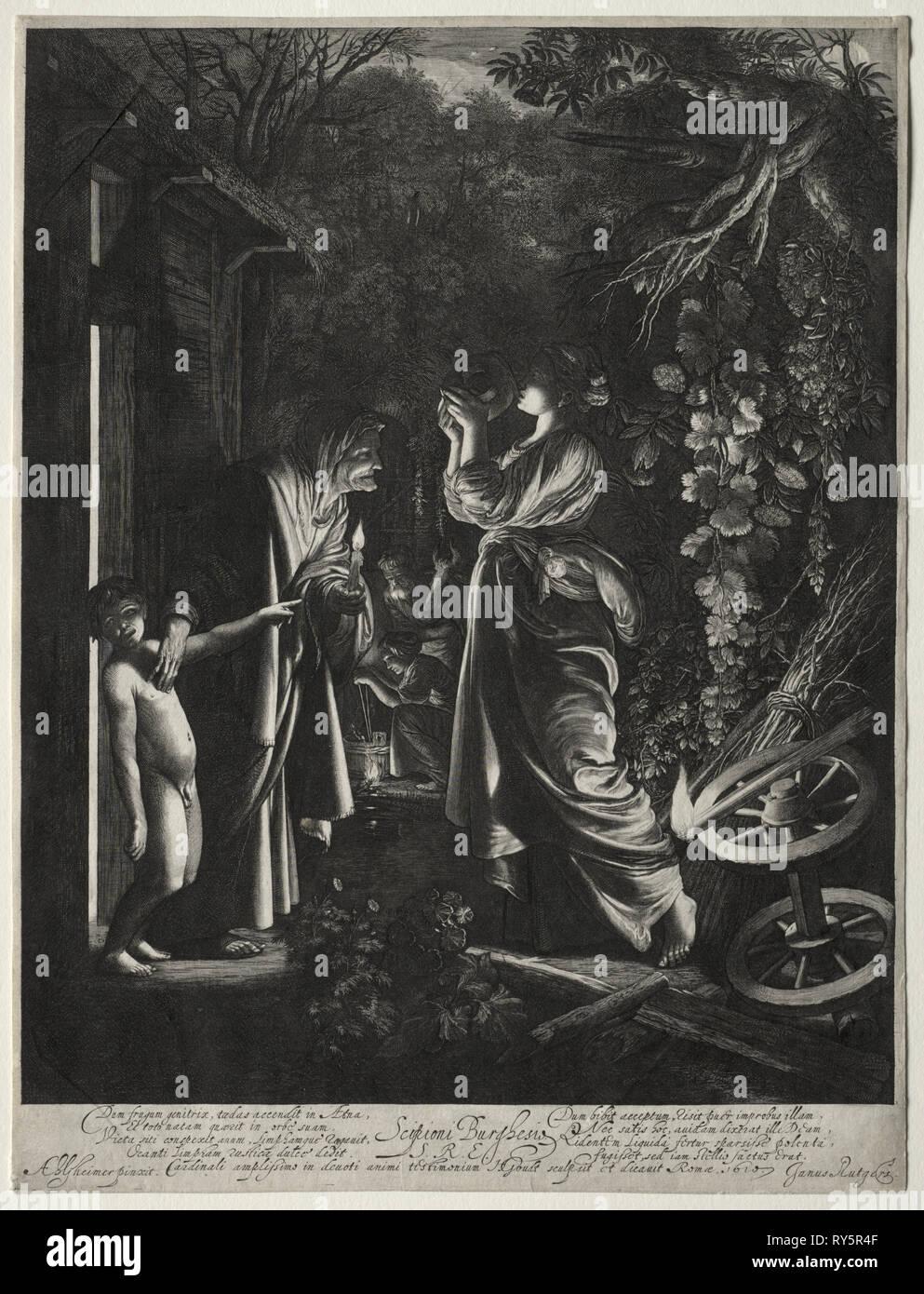 The Mocking of Ceres. Hendrik Goudt (Dutch, 1585-1630). Engraving - Stock Image