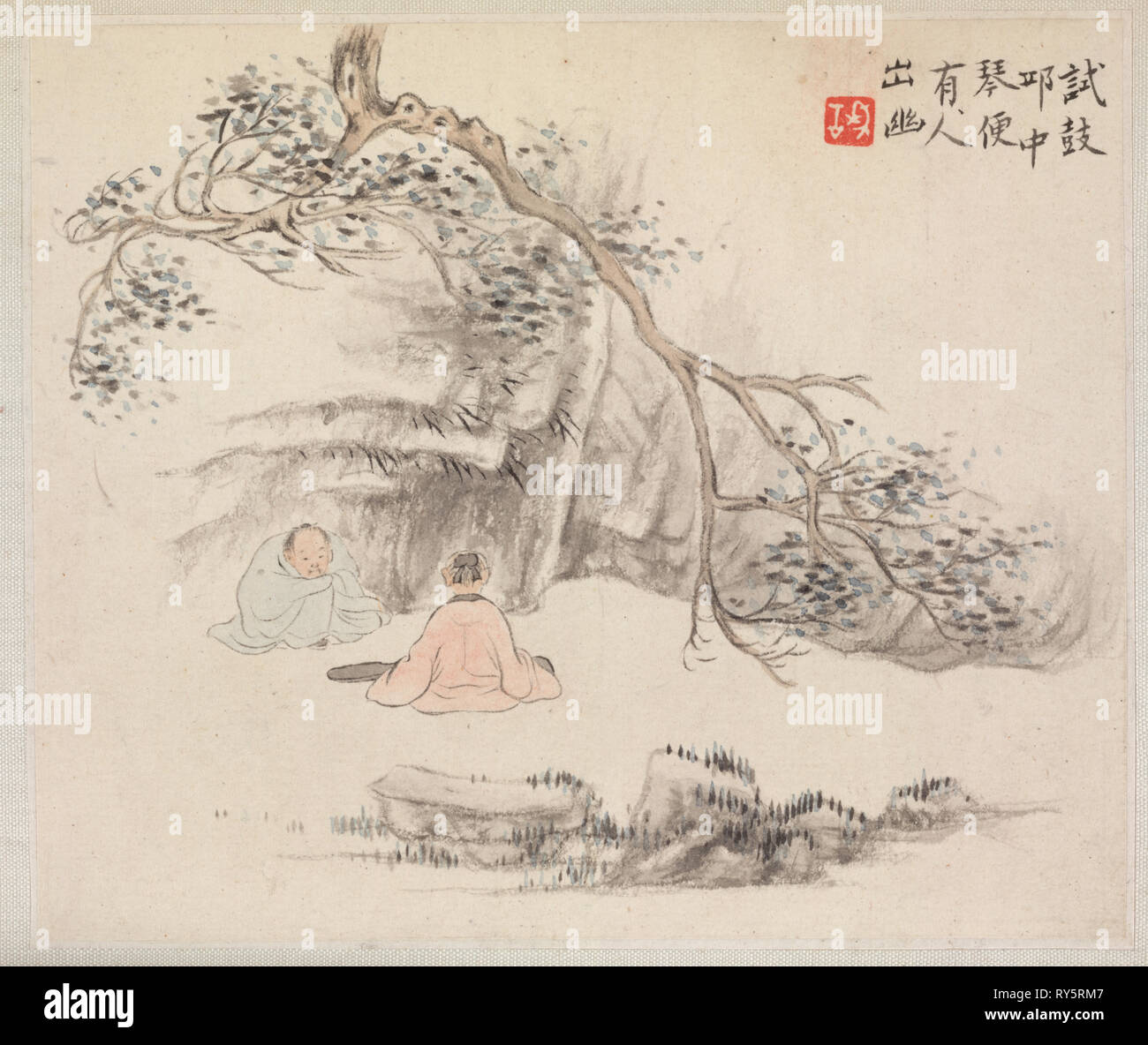 Album of Landscape Paintings Illustrating Old Poems: Two Figures Outside: One Listens while the Other Plays the Qin, 1700s. Hua Yan (Chinese, 1682-about 1765). Album leaf, ink and light color on paper; image: 11.2 x 13.1 cm (4 7/16 x 5 3/16 in.); album, closed: 15 x 18.5 cm (5 7/8 x 7 5/16 in - Stock Image