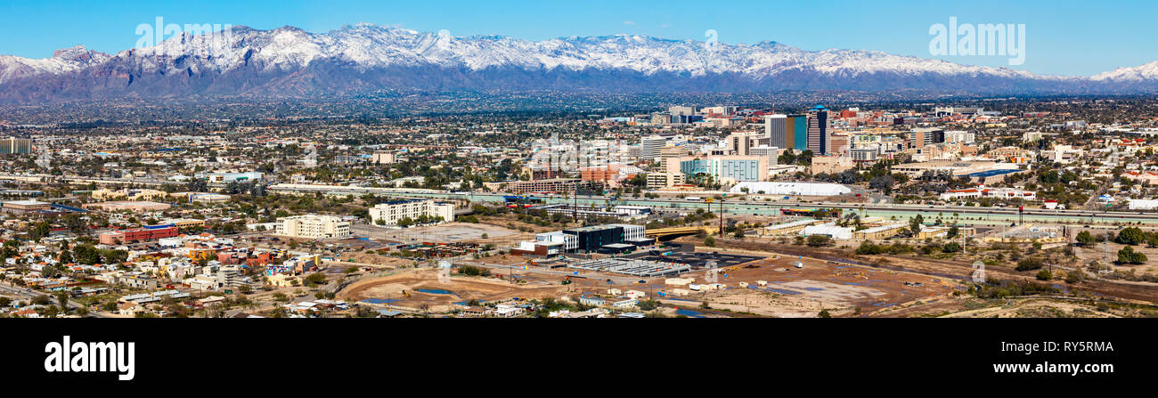 Panorama of the City of Tucson, snow capped Santa Catalina Mountains in the distance, Arizona - Stock Image