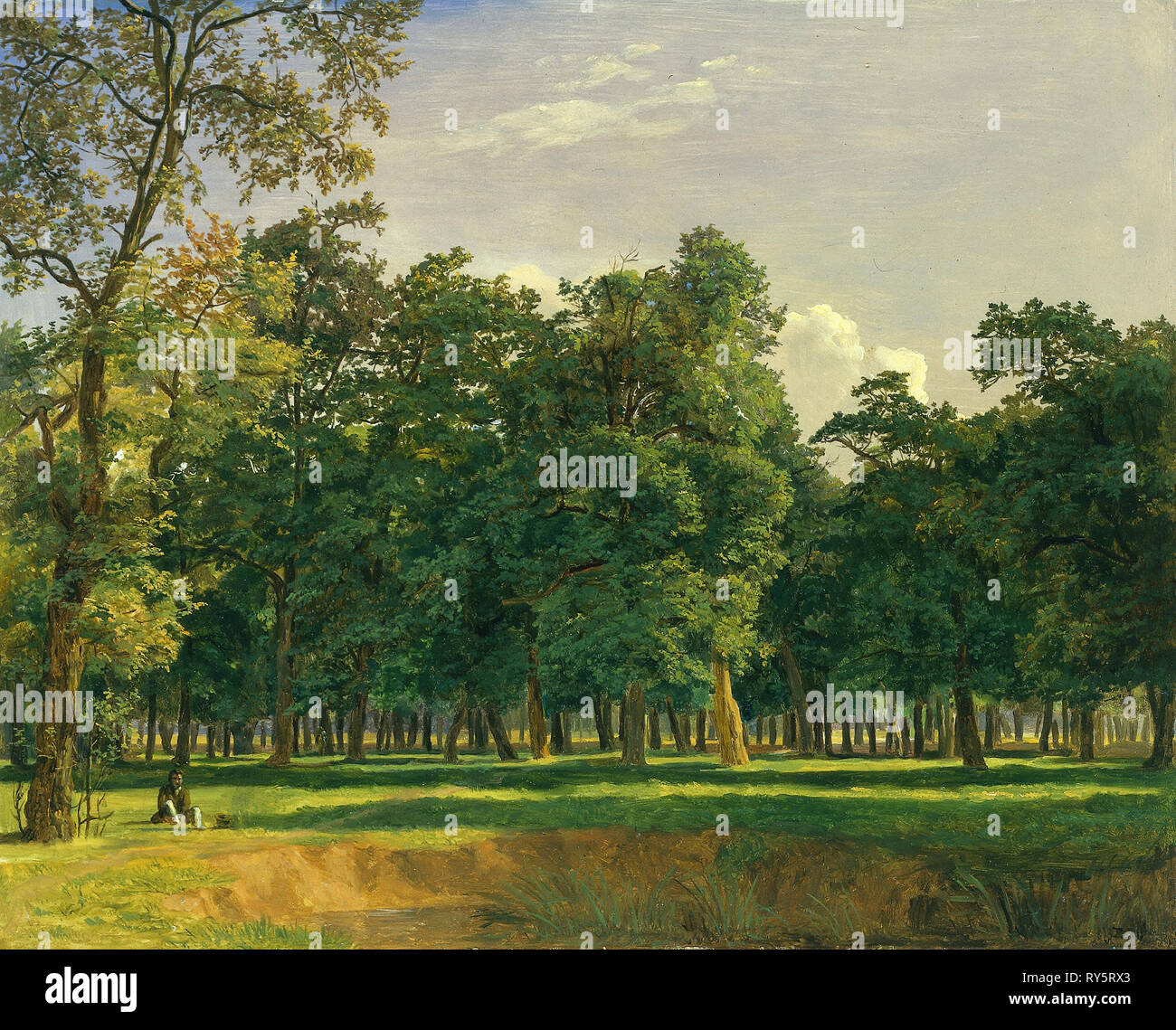 Prater Landscape, c. 1831. Ferdinand Georg Waldmüller (Austrian, 1793-1865). Oil on wood panel; framed: 37.5 x 43.5 x 5.5 cm (14 3/4 x 17 1/8 x 2 3/16 in.); unframed: 25 x 31 cm (9 13/16 x 12 3/16 in - Stock Image