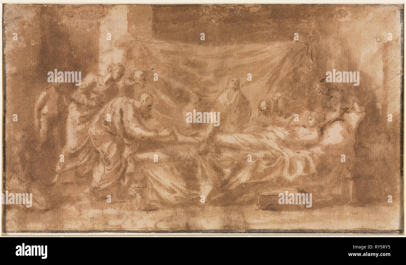 Extreme Unction (recto); Three Heads and Other Sketches (verso), 1643-1644. Nicolas Poussin (French, 1594-1665). Pen and brown ink and brush and brown wash; sheet: 12.6 x 22 cm (4 15/16 x 8 11/16 in Stock Photo