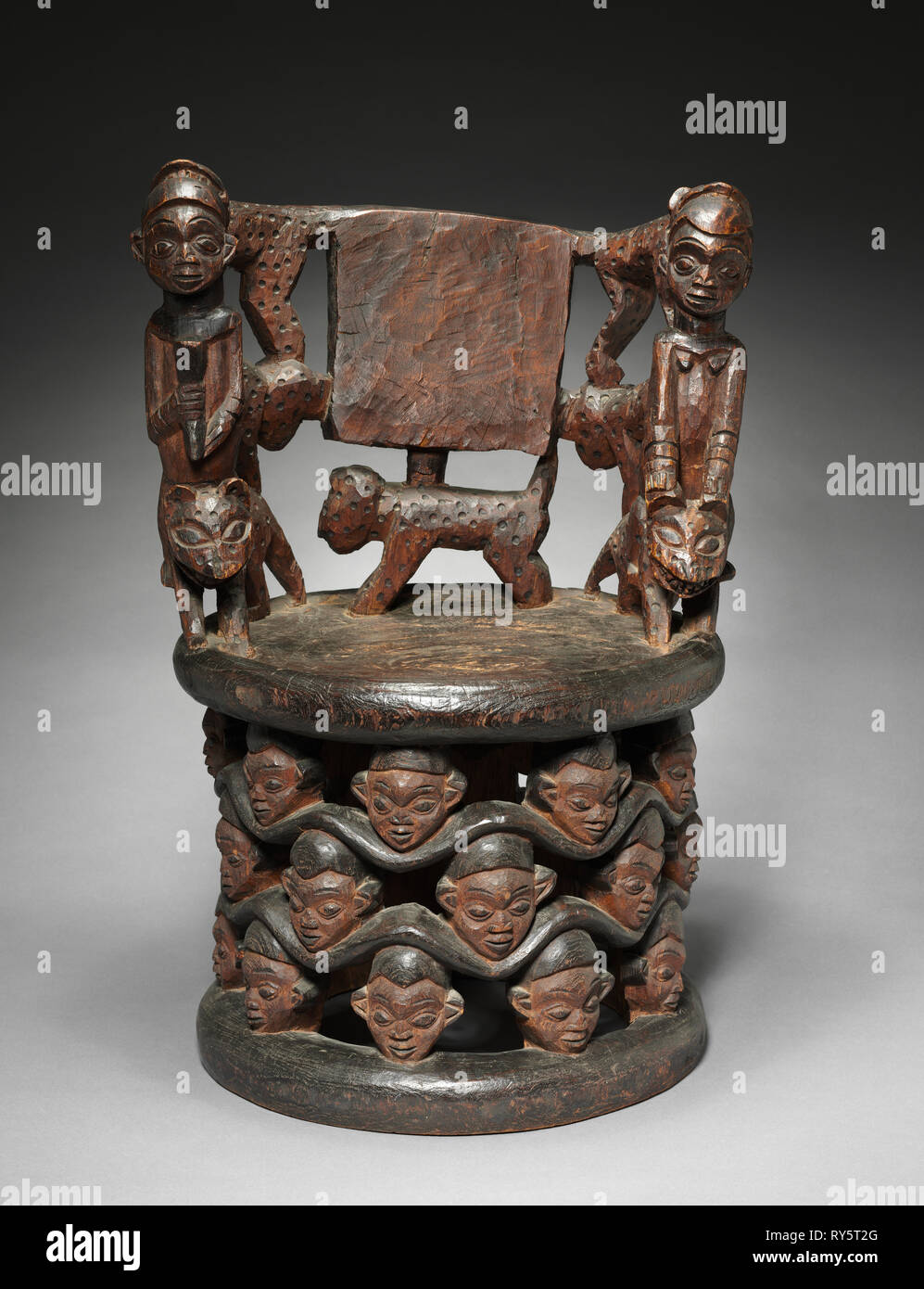 Prestige Chair, 1800s. Equatorial Africa, Cameroon. Wood; overall: 80.7 x 53.3 x 44.5 cm (31 3/4 x 21 x 17 1/2 in - Stock Image