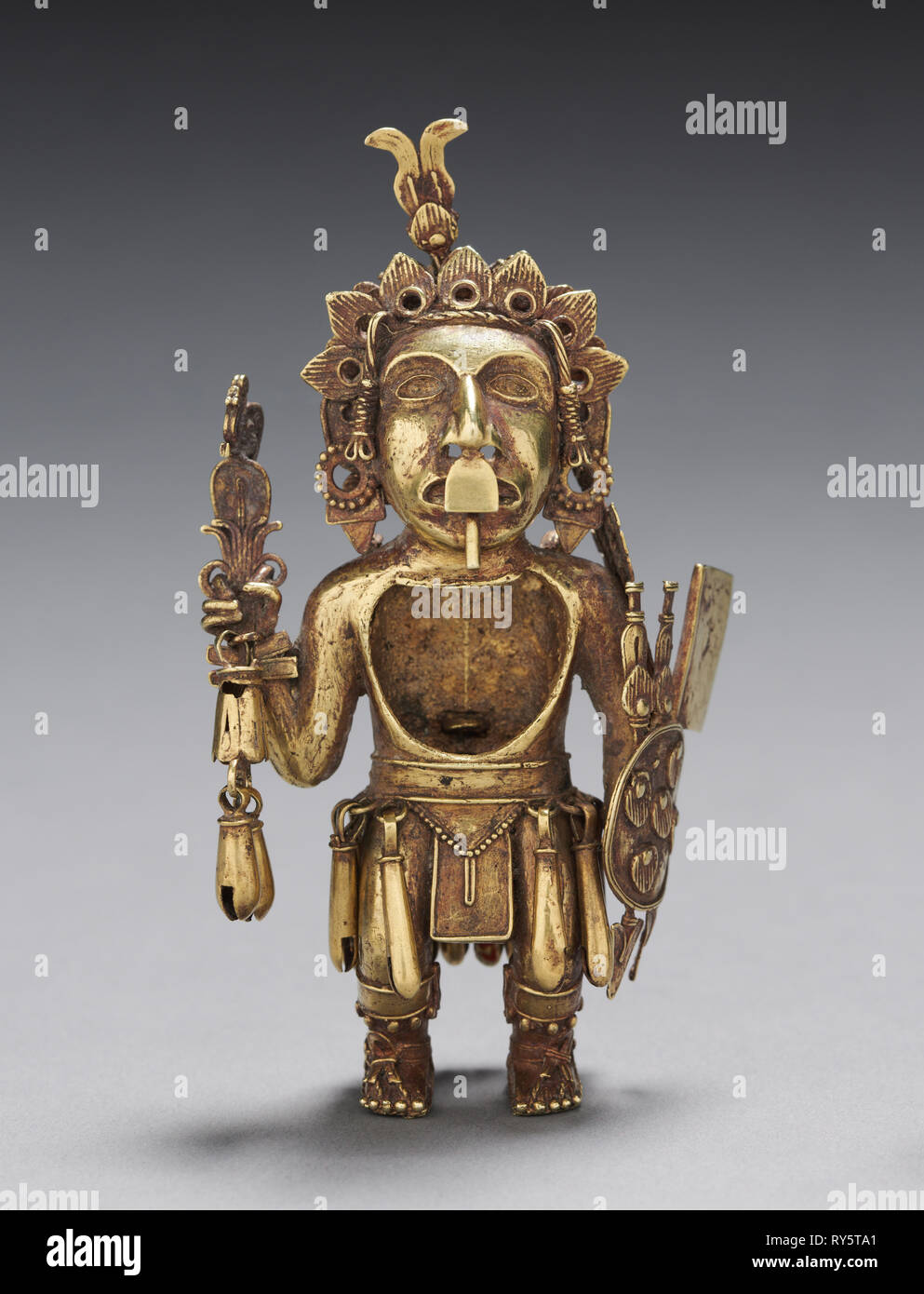 Figure of a Warrior, after 1325. Central Mexico, Tetzcoco?, Aztec, Post-Classic Period. Gold-silver-copper alloy (cast); overall: 11.2 x 6.1 cm (4 7/16 x 2 3/8 in - Stock Image