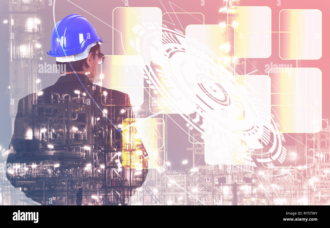 Double exposure engineer man wearing helmet standing with