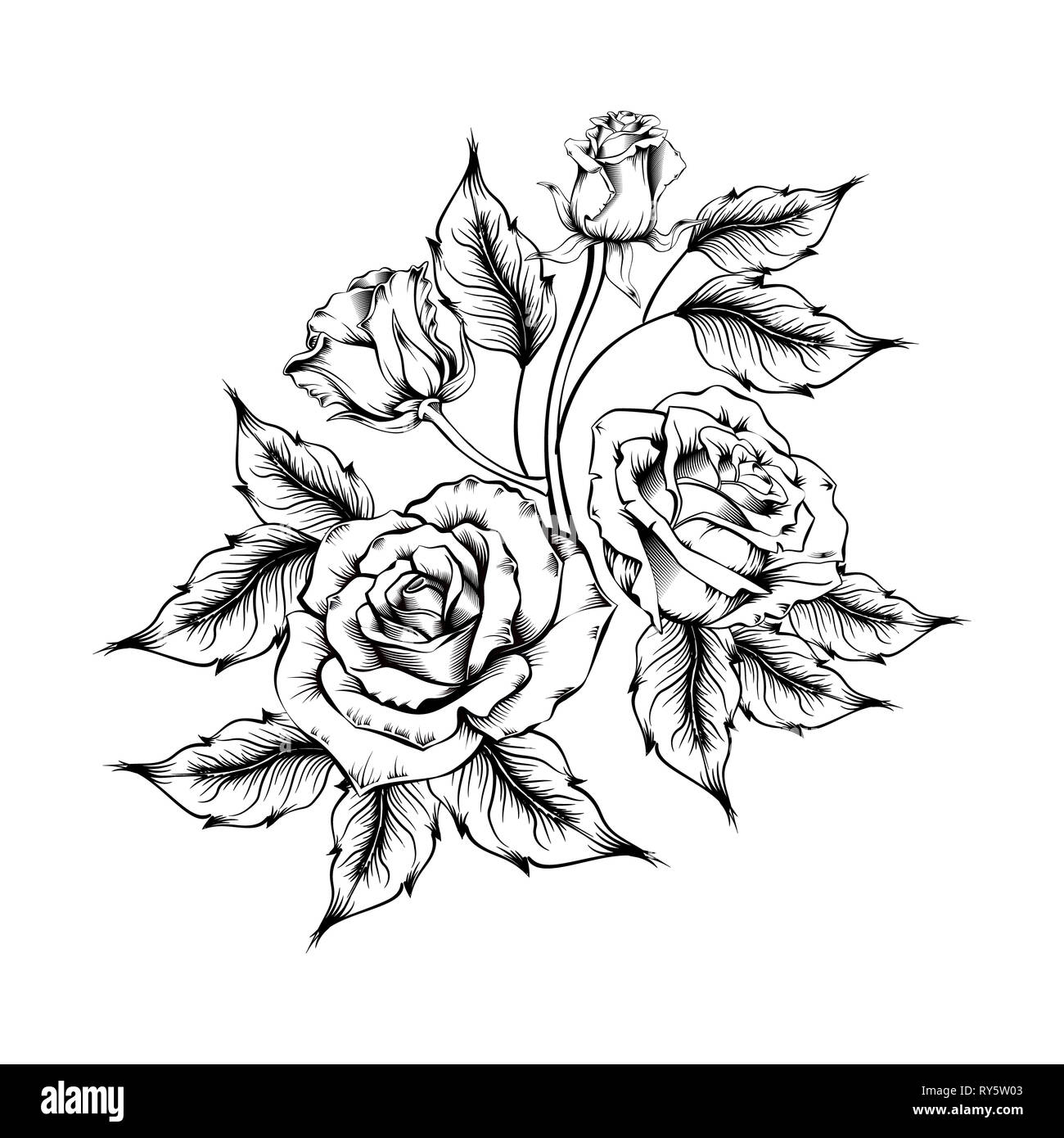 d98373d81f758 Rose tattoo. Silhouette of roses and leaves on a white background. Linework  style.