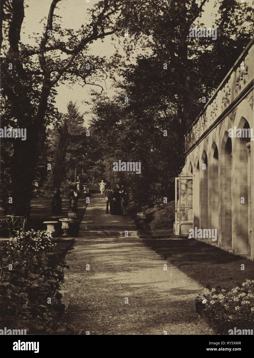 Photographic Album for the Year 1855, Being Contributions from the Members of the Photographic Club: Orangery and Flower Garden at Singleton, Glamorganshire, 1854. W. Graham Vivian (British, 1827-1912), Photographic Exchange Club. Albumen print from wet collodion negative; image: 19.5 x 14.8 cm (7 11/16 x 5 13/16 in.); matted: 45.7 x 35.6 cm (18 x 14 in - Stock Image