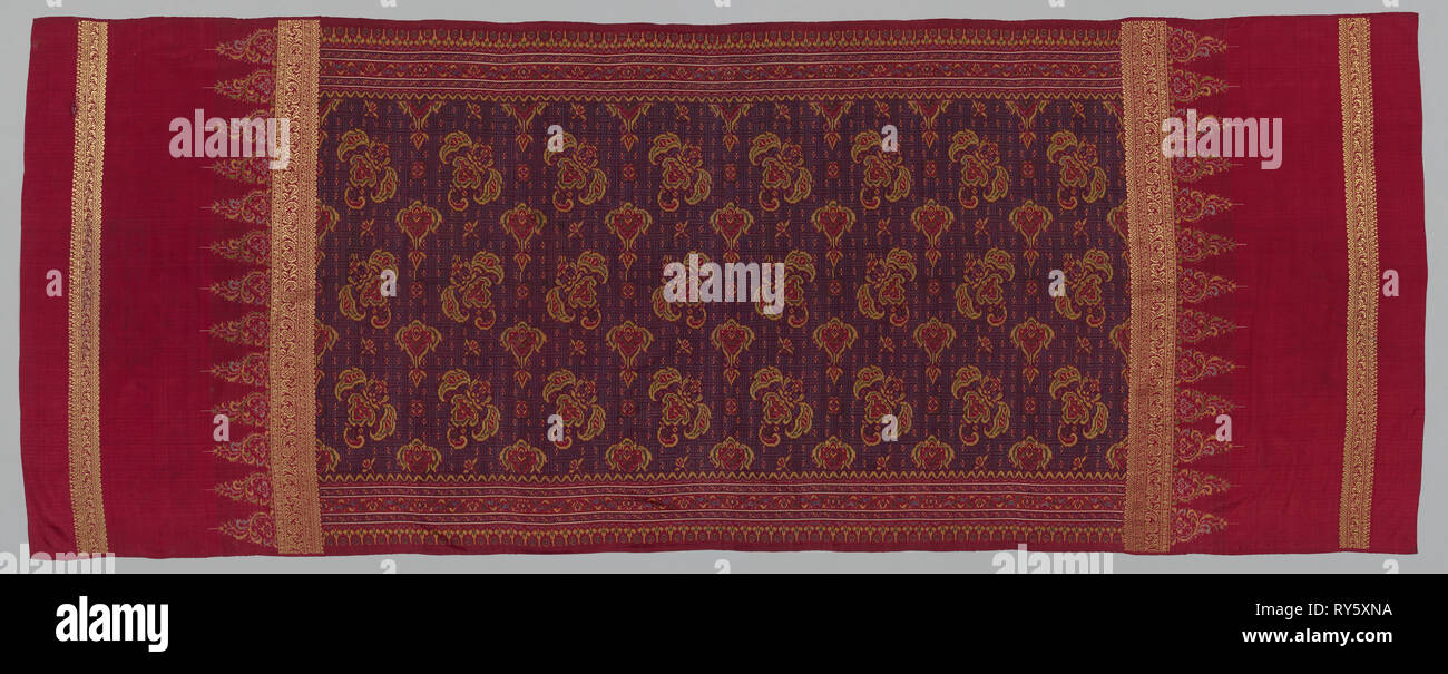 Shoulder Cloth, 1800s. Indonesia, Sumatra, Palembang, 19th century. Weft ikat and gold, tabby weave, brocaded; silk and gold; overall: 226 x 89.9 cm (89 x 35 3/8 in - Stock Image