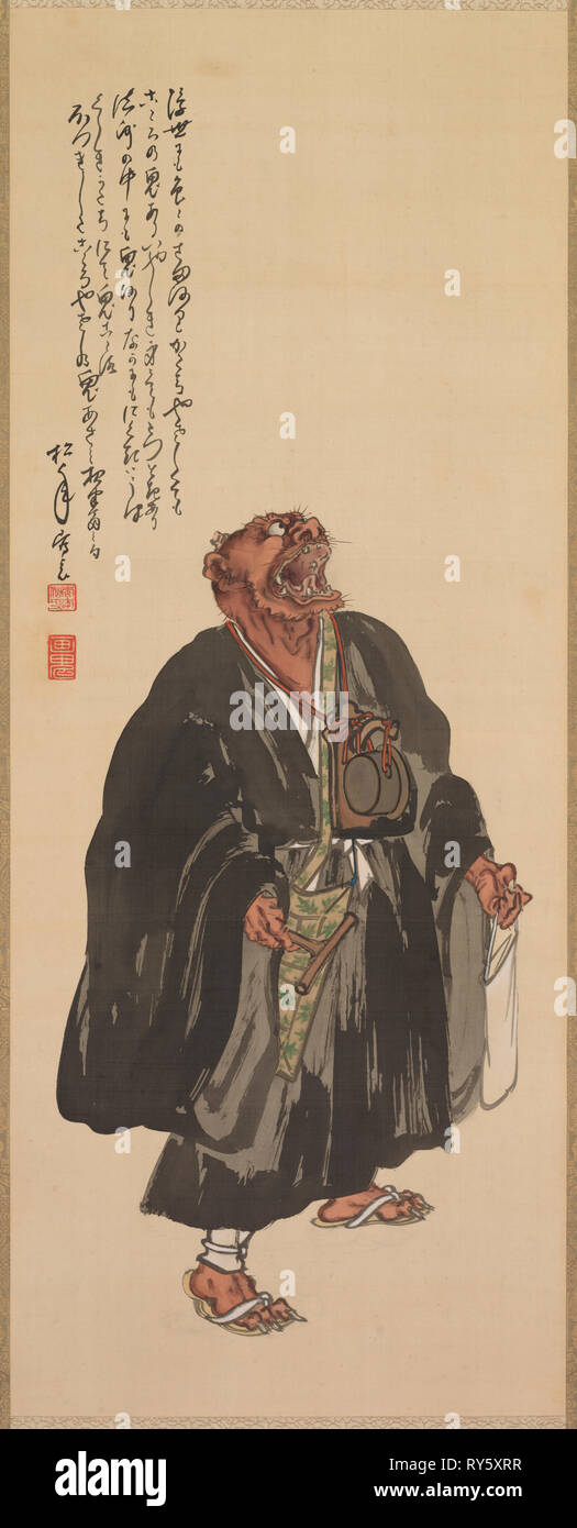 Oni Nembutsu, Standing with Head Raised and Howling, late 19th-early 20th century. Shonen Suzuki (Japanese, 1849-1918). Hanging scroll; ink and color on silk; overall: 194.4 x 61 cm (76 9/16 x 24 in.); painting only: 106 x 42 cm (41 3/4 x 16 9/16 in - Stock Image