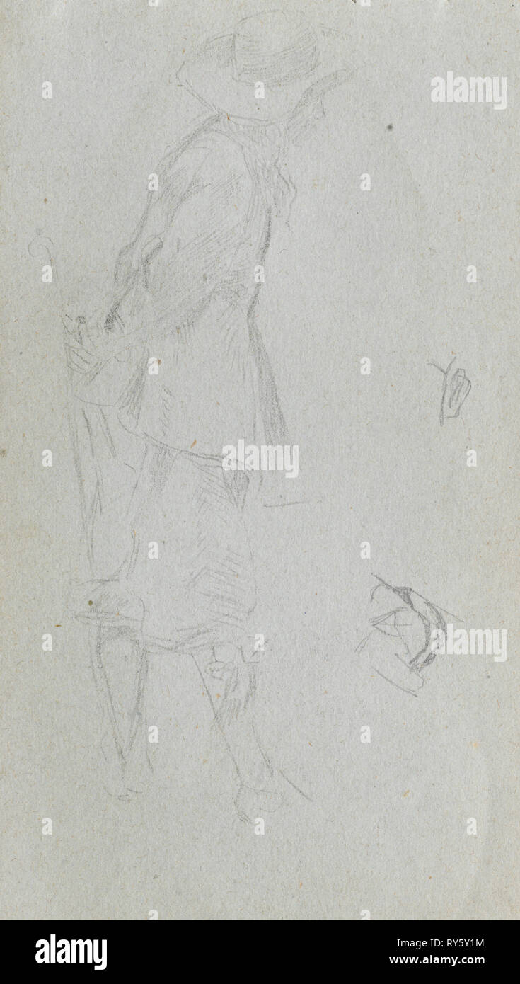Sketchbook, page 05: Figure Study. Ernest Meissonier (French, 1815-1891). Graphite - Stock Image