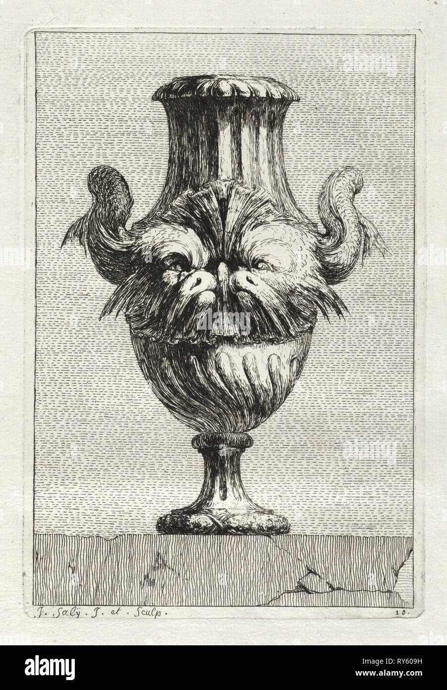 Suite of Vases:  Plate 10, 1746. Jacques François Saly (French, 1717-1776). Etching Stock Photo