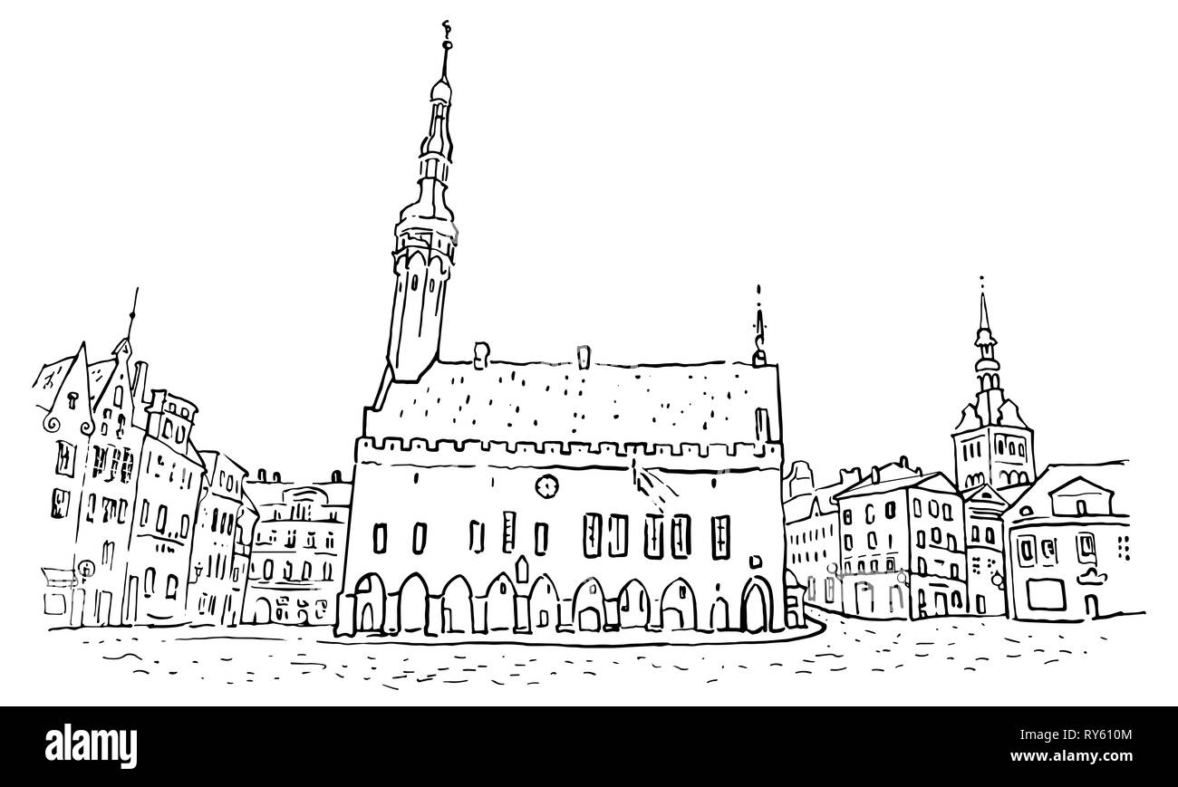 Town Hall Square in Tallinn Old Town. Hand drawn minimalistic sketchy style outline illustration. Historical architecture, St. Nicholas or Niguliste - Stock Image