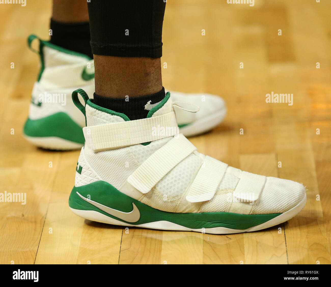 Los Angeles Ca Usa 11th Mar 2019 Nba Kicks Lebron James Shoes In Celtics Green Before The Boston Celtics Vs Los Angeles Clippers At Staples Center On March 11 2019 Photo By