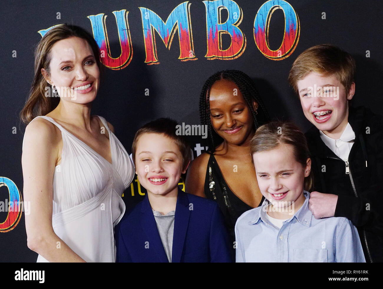 Hollywood, California, USA. 11th Mar, 2019. Angelina Jolie with her children Knox Jolie-Pitt and Zahara Marley Jolie-Pitt  029 attend the premiere of Disney s Dumbo at El Capitan Theatre on March 11, 2019 in Los Angeles, California. Credit: Tsuni / USA/Alamy Live News - Stock Image
