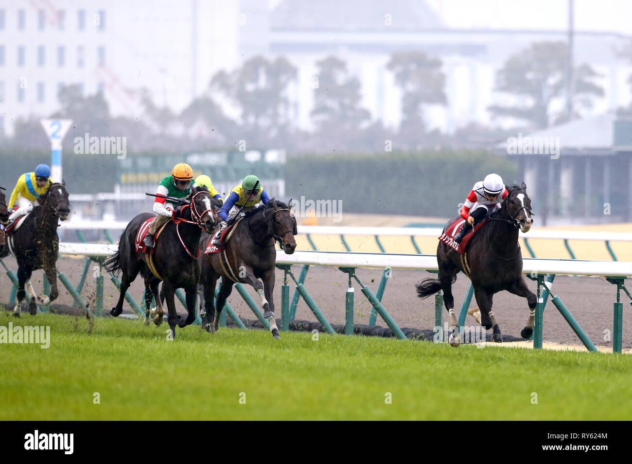 Aichi, Japan. 10th Mar, 2019. (R-L) Danon Premium (Yuga Kawada), Air Windsor (Yutaka Take), Lys Gracieux ( Andrasch Starke), Tanino Frankel (Hayato Yoshida) Horse Racing : Danon Premium ridden by Yuga Kawada wins the Kinko Sho at Chukyo Racecourse in Aichi, Japan . Credit: Eiichi Yamane/AFLO/Alamy Live News Stock Photo