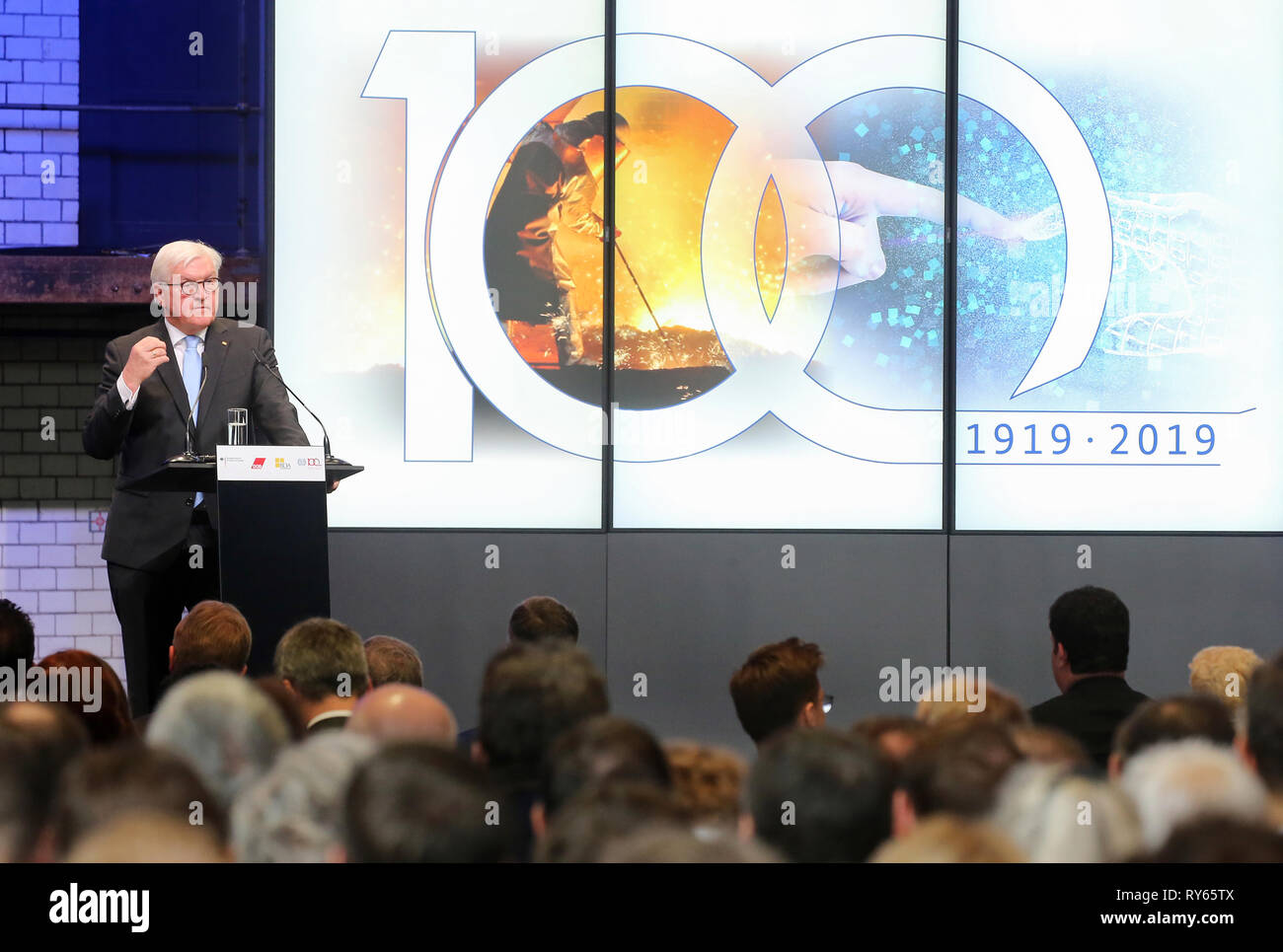 Berlin, Germany. 12th Mar, 2019. Federal President Frank-Walter Steinmeier addresses the 100th anniversary of the International Labour Organization (ILO). He called for consistent taxation of international digital corporations. Credit: Wolfgang Kumm/dpa/Alamy Live News - Stock Image